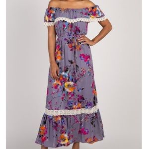 Floral Off Shoulder Maxi Dress Maternity